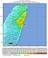 2019-04-18 Hualian, Taiwan M6.1 earthquake shakemap (USGS).jpg