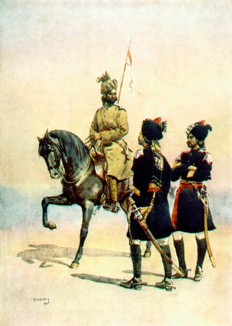 15th Lancers - 37th Lancers (Baluch Horse) (left). Watercolour by Maj AC Lovett, 1910.