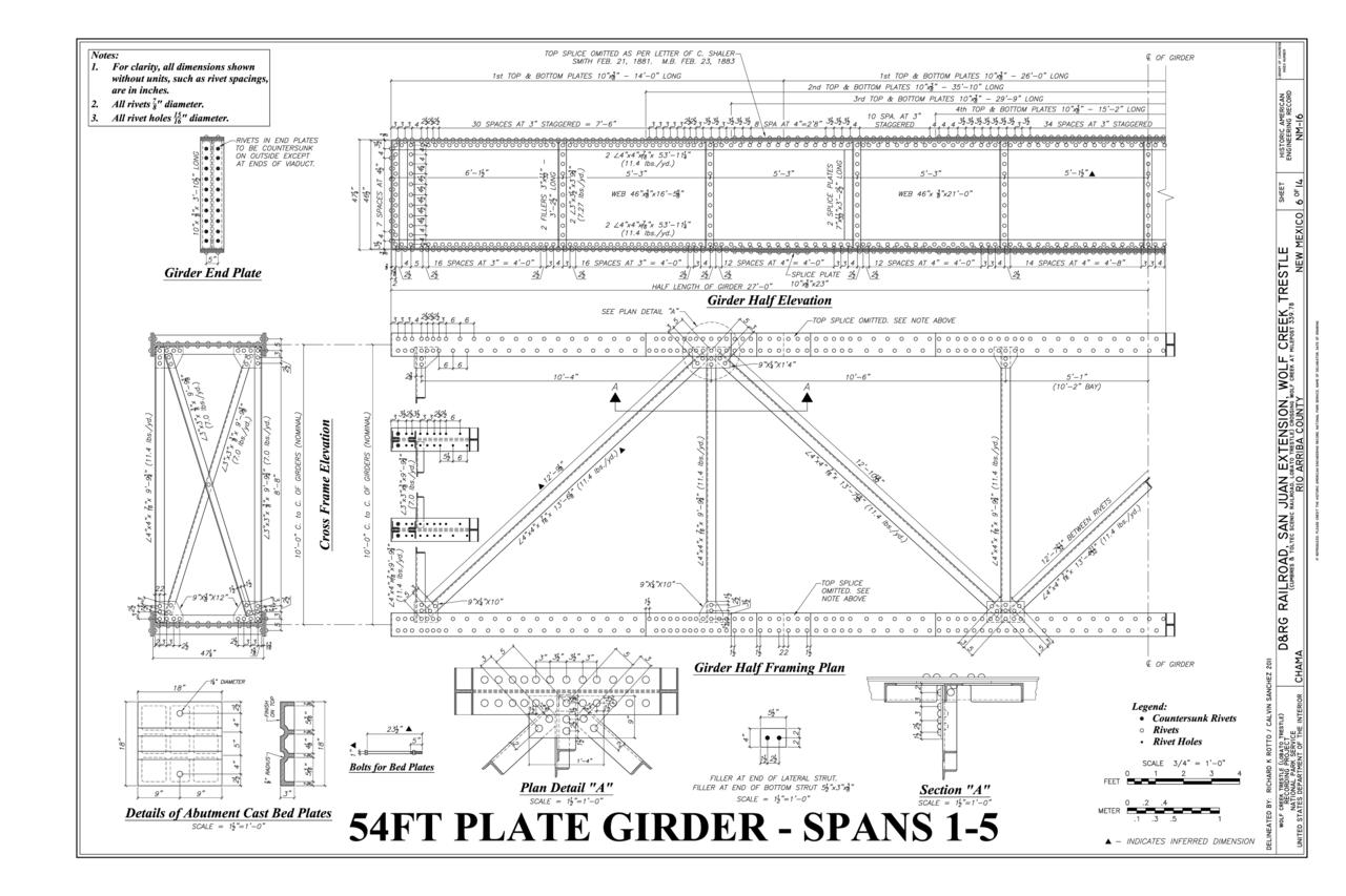 File 54 Ft Plate Girder Spans 1 5 Girder Half Elevation