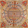 Aḍhāī-dvīpa, 'Two and a half continents'. Painting on cloth, 18th century (British Library Or 13937).png