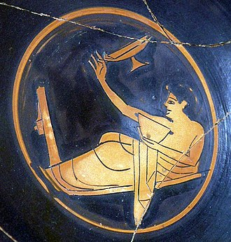 Kottabos - Kottabos player, red-figure kylix, ca. 510 BC, Ancient Agora Museum in Athens.