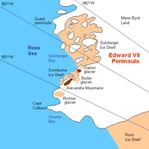 King Edward VII Land - Area map of Edward VII Peninsula
