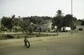 ASC Leiden - F. van der Kraaij Collection - 05 - 064 - A street view Robertsport with traditional settler houses - Robertsport, Cape Mount County, Liberia, 1976.tif