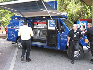 Mobile ATMs installed in a van with guards