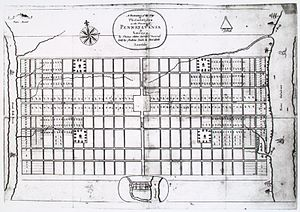 Transportation in Philadelphia - Thomas Holme's A Portraiture of Philadelphia, displaying the rectilinear grid layout of the streets.