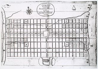 Vine Street (Philadelphia) - Original street plan of Philadelphia (1683). Vine Street is the street at the top.