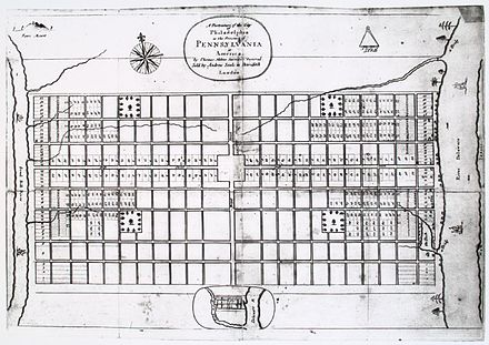 A Portraiture of the City of Philadelphia, by Thomas Holme - the first map of Philadelphia, ca. 1683 A Portraiture of the City of Philadelphia.JPG