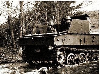 T-13 tank destroyer - T-13 B2 fording a creek during field exercises