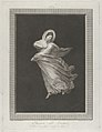 A bacchante wearing a flowing drapery, looking down, right arm bent and left arm outstretched, set against a black background inside a rectangular frame MET DP842054.jpg