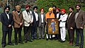 A delegation from Sikh Welfare Society, presented the 'Saropa and Kirpan' to the Vice President, Shri M. Hamid Ansari, to mark the 350th birth anniversary of Guru Gobind Singh Ji, in New Delhi on January 09, 2017.jpg