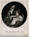 A female barber shaving a man. Mezzotint. Wellcome V0019726EL.jpg