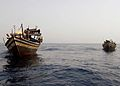 A team of U.S. Sailors assigned to the amphibious dock landing ship USS Ashland (LSD 48) board a fishing dhow during maritime security operations in the Gulf of Aden May 18, 2010 100518-N-RT317-004.jpg