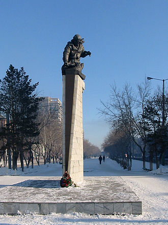 Karaganda - Statue of Nurken Abdirov in Karaganda