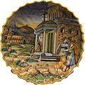 Abimélech épiant Isaac et Rébecca - Coupe godronnée à bord dentelé (majolique, Urbino ou Lyon) - détouré.jpg