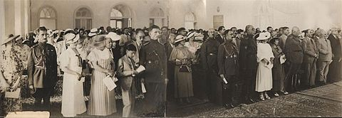 Military commanders of the Iranian armed forces, government officials and their wives commemorating the abolition of the chadors. (1936) Abolitionofveil.jpg