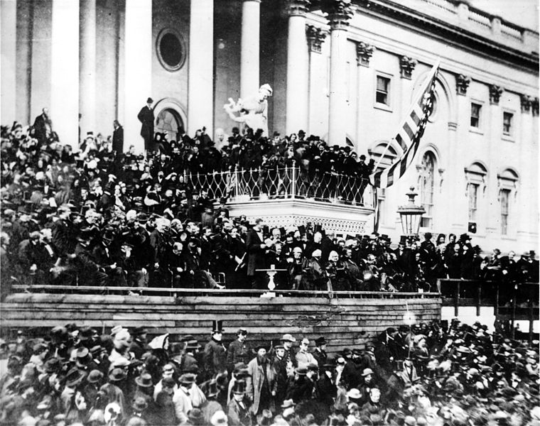 File:Abraham Lincoln giving his second Inaugural Address (4 March 1865).jpg