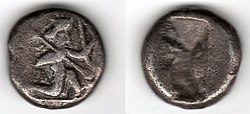 Achaemenid Era silver shekel made in Sardis between 500 and 450 BCE showing a warrior-king holding a bow and a lance.