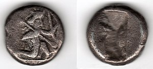 Lydia (satrapy) - Achaemenid Era silver shekel made in Sardis between 500 and 450 BCE showing a warrior-king holding a bow and a lance.