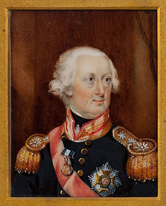 Naval Gold Medal - Admiral Sir Charles Knowles wearing a small gold medal for St. Vincent, where he commanded HMS Goliath.