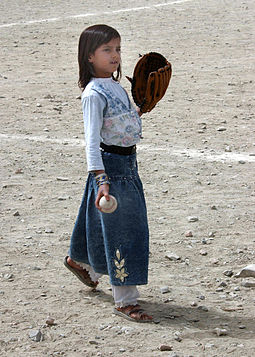 An Afghan girl playing baseball in August 2002 Afghan girl playing baseball in 2002.jpg