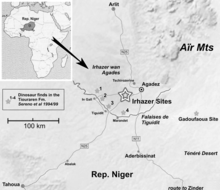 Drawn map showing dinosaur localities in Niger