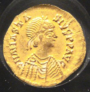 Alaric II - Reverse of a coin issued by Alaric II, gold 1.47 g. Note that the coin-portrait is actually of the Eastern Roman Emperor Anastasius I