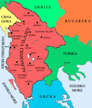 Partition of Albania - The four Ottoman vilayets clearly divided (vilayet of İşkodra, Yannina, Monastir and Kosovo as proposed by the League of Prizren for full autonomy)