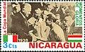 Albert Lebrun presents 1938 FIFA Cup to Giuseppe Meazza 1974 stamp of Nicaragua.jpg