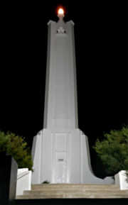 Albury war memorial by night