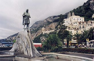 Duchy of Amalfi - Statute of Flavio Gioia in Amalfi by Alfonso Balzico, 1900