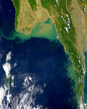 Andaman Sea - Satellite image of the Andaman Sea showing the green algae and silt deposits due to the Irrawaddy River in its northern part