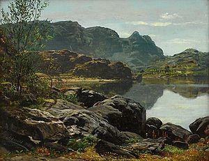 Anders Askevold - Image: Anders Askevold Landskap med innsjø 1853
