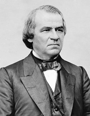 Monochrome photograph of the upper body of Andrew Johnson