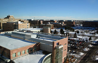 University of Colorado Denver - A view of the Anschutz Medical Campus from the Anschutz Outpatient Pavillon, looking northeast. Building 500 can be seen in the background near the left side of the image.