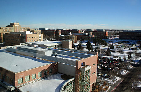 A view of the Anschutz Medical Campus from the Anschutz Outpatient Pavillon, looking northeast. Building 500 can be seen in the background near the left side of the image. AnschutsMedicalCampus.JPG