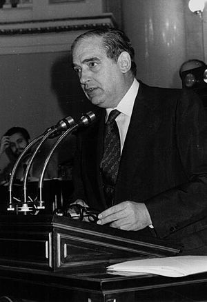 Antonio Fontan, Spanish journalist and member of Opus Dei who fought for the freedom of press and democracy during Franco's regime. He was persecuted by Franco and was elected as the first President of the Senate once democracy was restored. Antonio Fontan press freedom hero.JPG