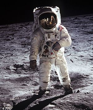 Edwin Aldrin wearing the A7L spacesuit on the ...