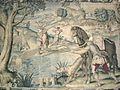 Arazzo disegnato da Alessandro Allori con la scena della Caccia del cigno, realizzato dal tessitore Benedetto Squilli.JPG