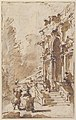 Architectural Capriccio- Garden Entrance to a Palace (recto); Three Masked and Costumed Figures and Other Figure Studies (verso) MET 37.165.81 RECTO.jpg