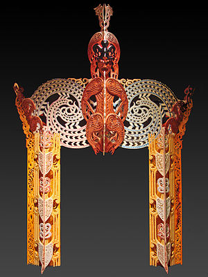 """Cliff Whiting - An ornamental gateway named """"Te Kūwaha o Wharetutu"""" carved by Whiting, from the collection of the Ethnological Museum of Berlin"""