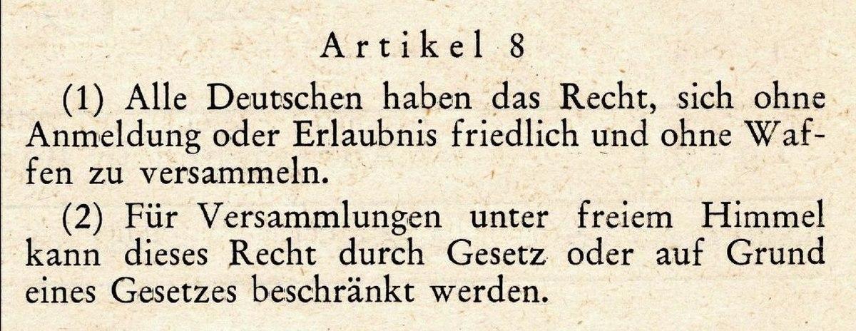 Artikel 8 des Grundgesetzes für die Bundesrepublik Deutschland ...