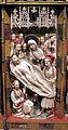 Artista inglese, forse di nottingham, trittico con storie della passione, 1350-1400 ca., alabastro, legno e vetri 07.JPG