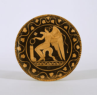 Cupid - A red-figure plate with Eros as a youth making an offering (c. 340–320 BC). Walters Art Museum, Baltimore.
