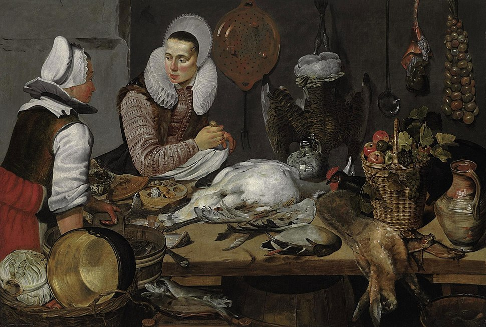 Attributed to Frans Hals, 1625-1630, A Kitchen Interior with a Maid and a Lady Preparing Game