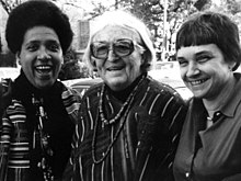 Rich (right), with Audre Lorde (left) and Meridel Le Sueur (middle), 1980