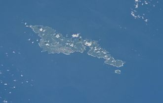 Outline of American Samoa - A satellite image of Tutuila and Aunu'u in American Samoa