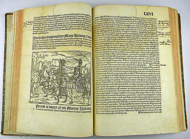 Страницы из первого полного перевода «Истории» на немецкий язык Николаса Карбаха. Майнц, 1523 год.