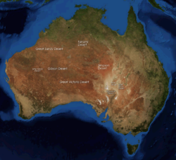 Labelled satellite image of Australia, showing the Great Sandy Desert in the northwest, reaching from the centre of the continent to the northwest coastline