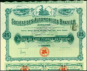 Brasier - Share of the Société des Automobiles Brasier, issued 8. July 1899