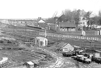 Avonmouth railway station (Bristol Port Railway and Pier) - The only known photo of the station, dated 8 March 1903, after the station was closed to the general public. The Avonmouth Hotel is on the right.